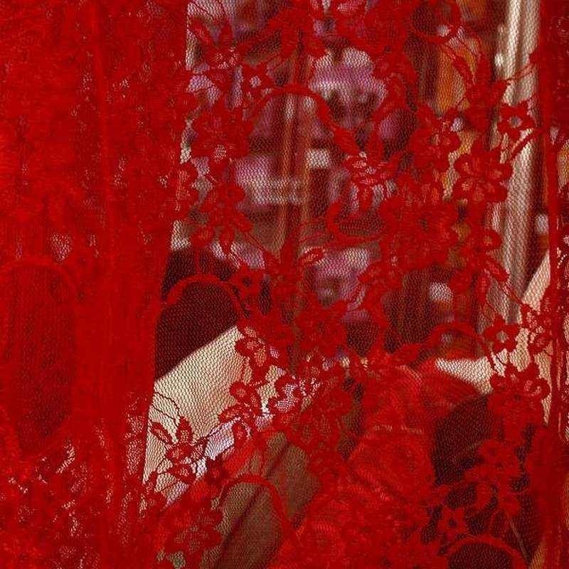 Tissu dentelle extensible Rouge