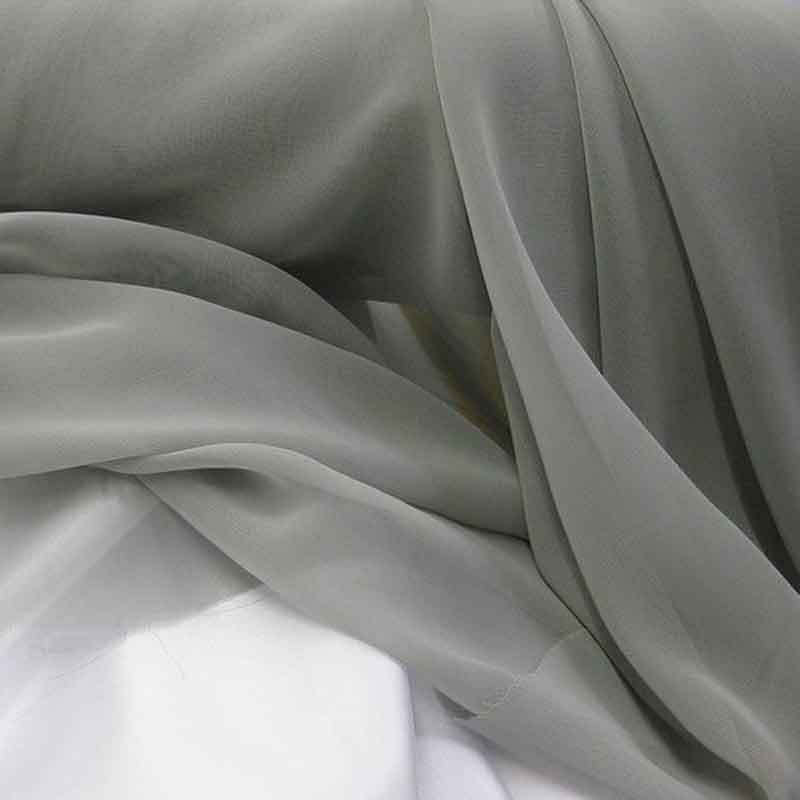 Tissu Mousseline unie Gris clair