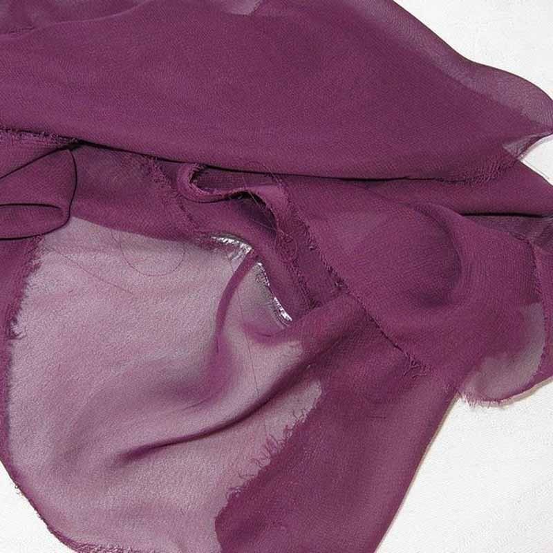 Tissu Mousseline unie violet prune