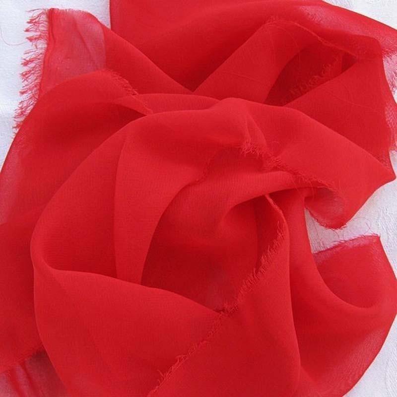 Tissu Mousseline unie Rouge Vermillon