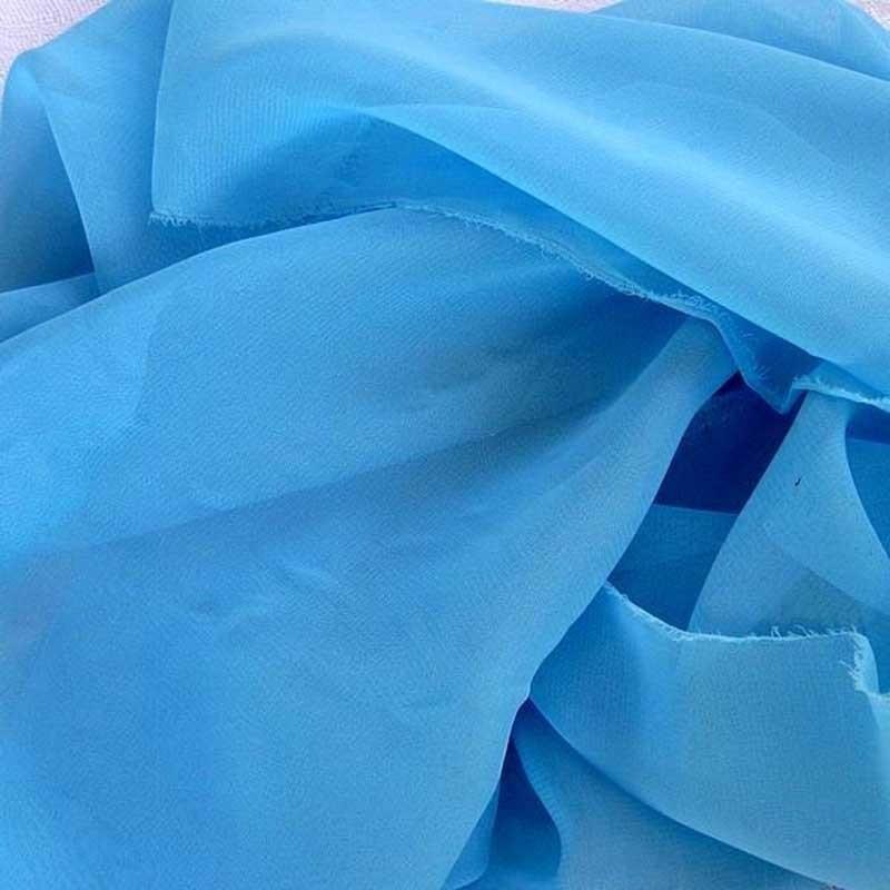 Tissu Mousseline unie Bleu Turquoise