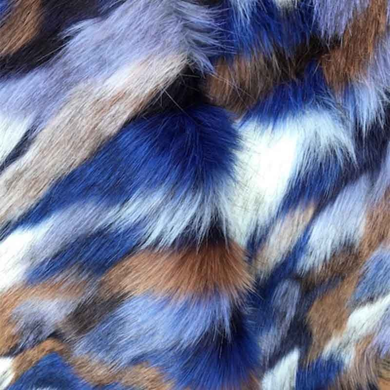 Fausse Fourrure Dahu Bleu