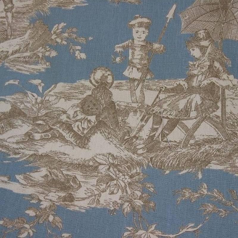 Toile de Jouy Histoire D'eau Bleu Acier