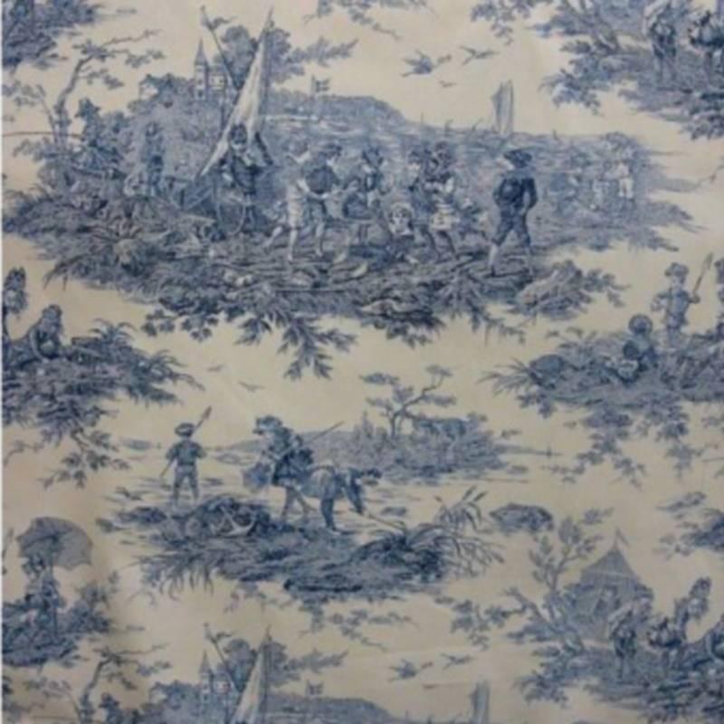 Toile de Jouy Histoire D'eau Bleu