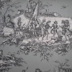 Toile de Jouy Histoire D'eau Gris