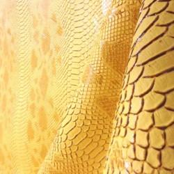 Tissus Simili Cuir Komodo Jaune