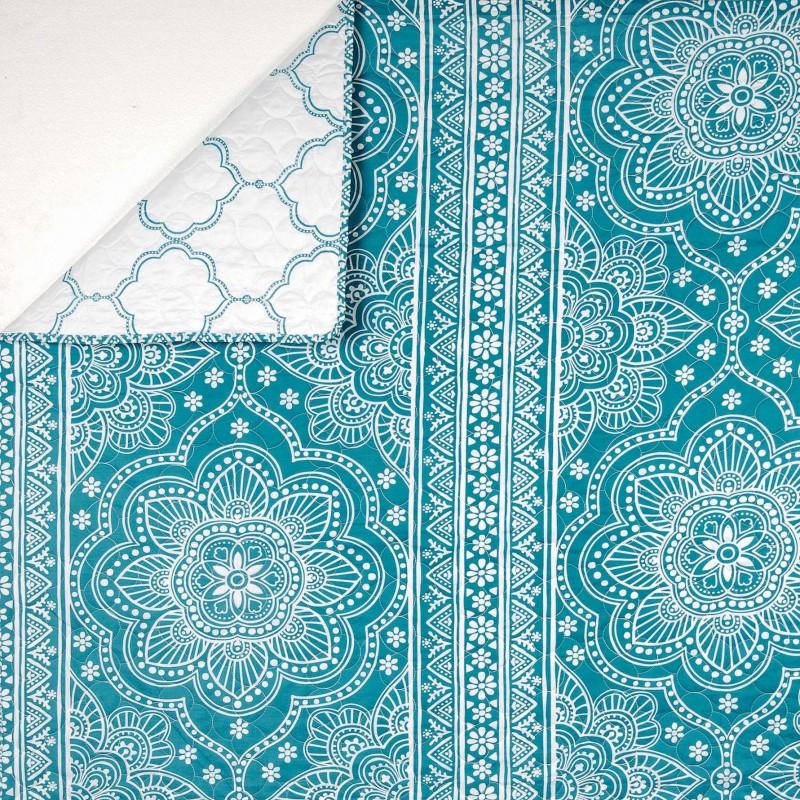 Jeté de lit 230x250 cm + 2 Taies Mandala Bleu