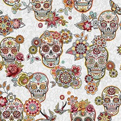 Jacquard Tête de mort skull mexicain Blanc