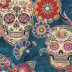 Jacquard Tête de mort skull mexicain Bleu Canard