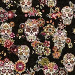 Jacquard Tête de mort skull mexicain Cristobal Noir