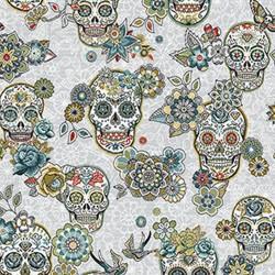 Jacquard Tête de mort skull mexicain Turquoise