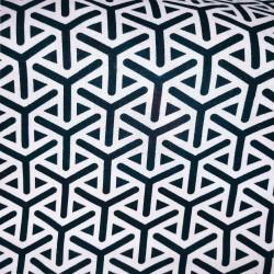 """Tissu Viscose à motif géométrique """"Y"""" noirs sur une fond Blanc."""