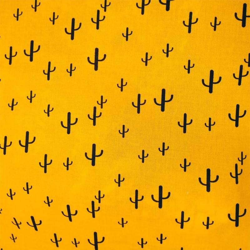 Tissu Viscose imprimée de cactus noirs sur un fond Jaune.