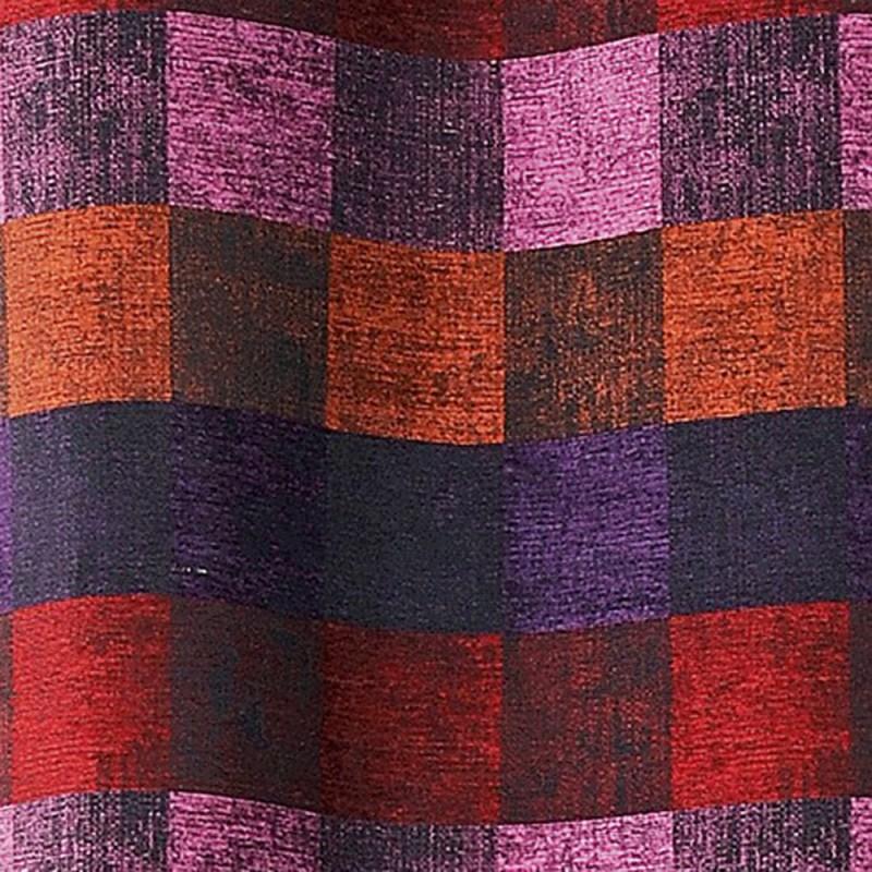 Tissu d'ameublement aspect velours multicolore.