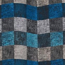 Tissu d'ameublement aspect velours bleus et gris.