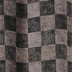 Tissu d'ameublement aspect velours gris et taupe.