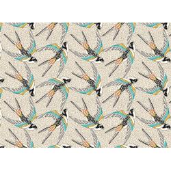 Coton Imprimé Oiseau Blanc