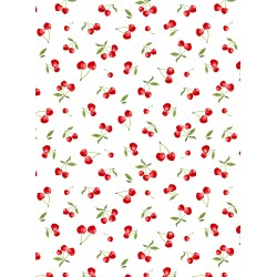 Coton Imprimé Cerise Blanc