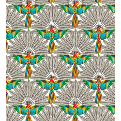 Coton Imprimé Perroquet Blanc