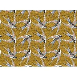 Coton Imprimé Oiseau Jaune