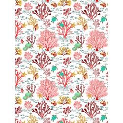 Coton Imprimé Corail Rouge