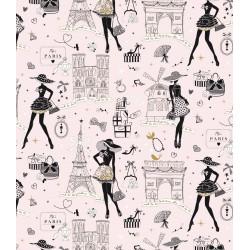 Coton Imprimé Moi Paris Rose