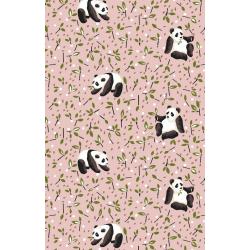 Coton Imprimé Panda Rose