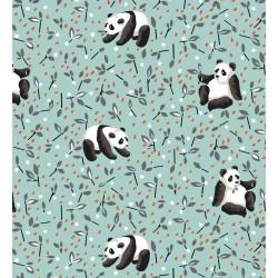 Coton Imprimé Panda Bleu