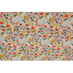 Coton Bio POPPY Floral Fond...