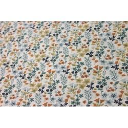 Tissu Matelassé - Floral Bleu