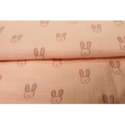 Double Gaze Lapin Rose Pâle