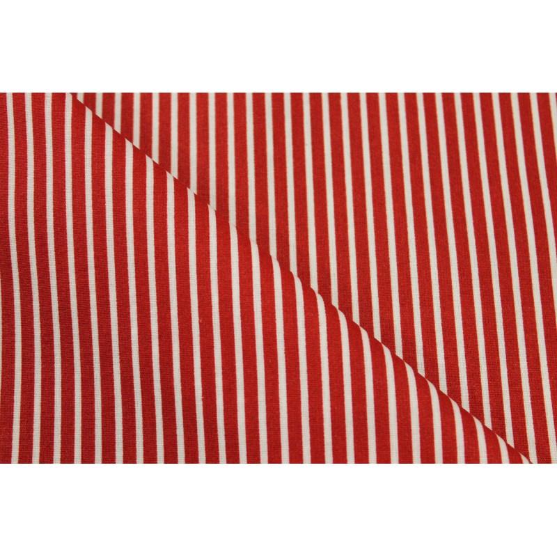 Coton enduit rayé rouge
