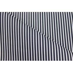 Coton enduit rayé bleu marine