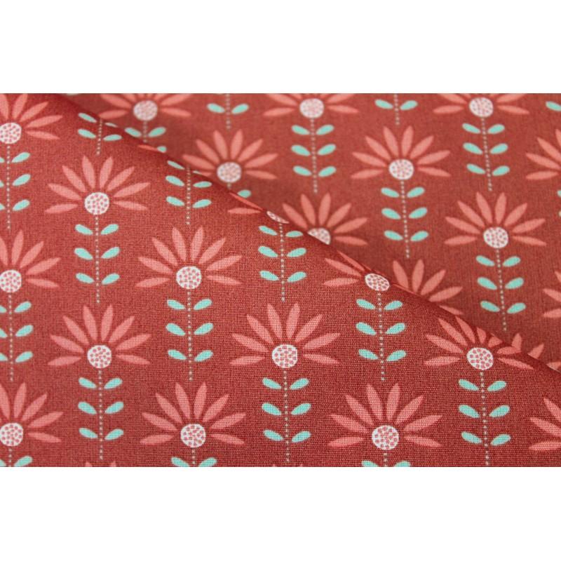 Coton enduit fleurs terra