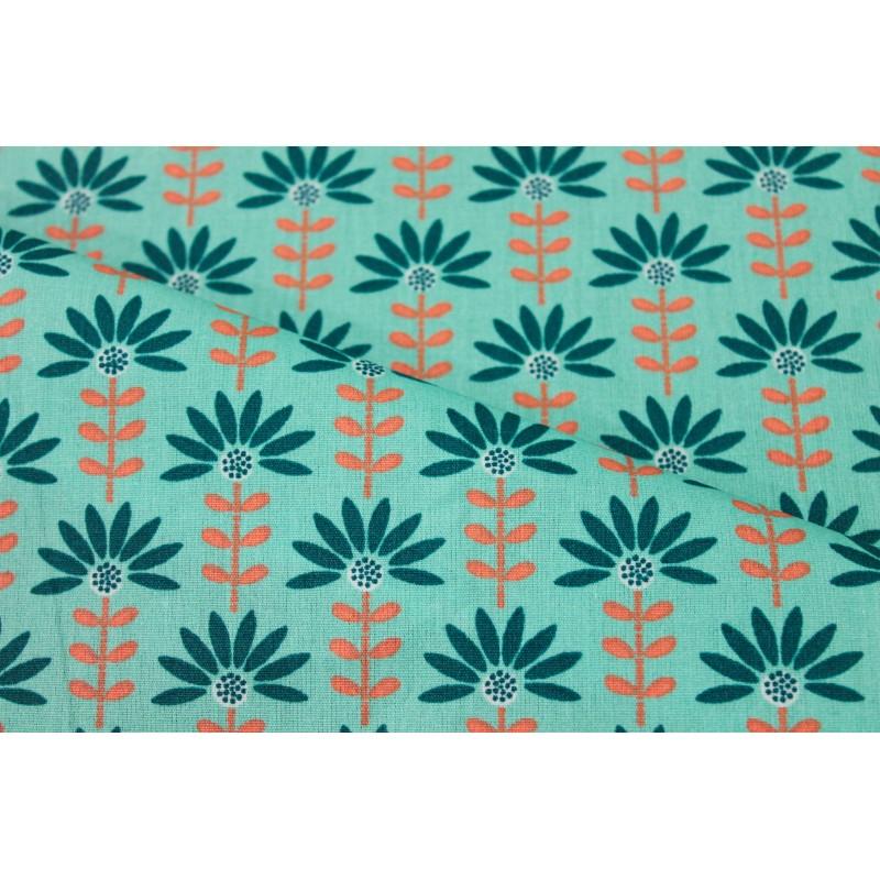 Coton enduit fleurs menthe