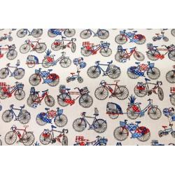 Coton Vélos Blanc & Bleu