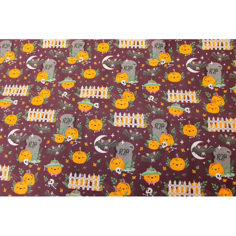 Coton Imprimé Halloween Citrouilles