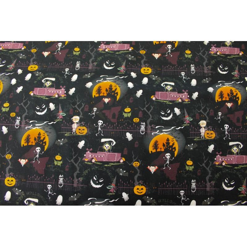 Coton Imprimé Halloween Manoir