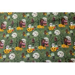 Coton Imprimé Halloween Cimetière